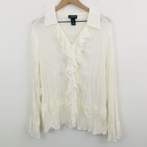Lane Bryant Boho Lace V-Neck Button Up Shirt